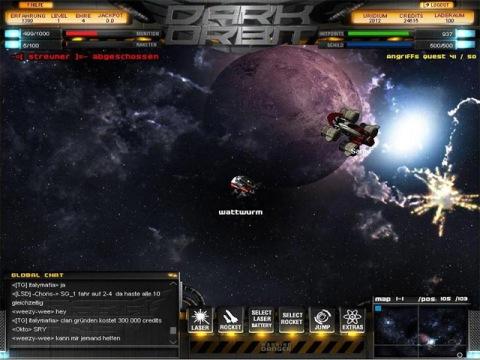 Система навигации в DarkOrbit - описание окна игры