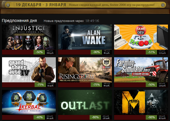 31 декабря 2013 в Steam: Grand Theft Auto IV, Outlast, Metro: Last Light