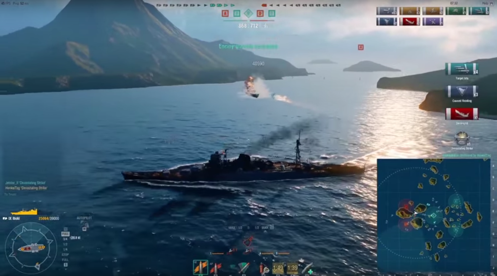 Гайд по крейсеру Ibuki из World of Warships